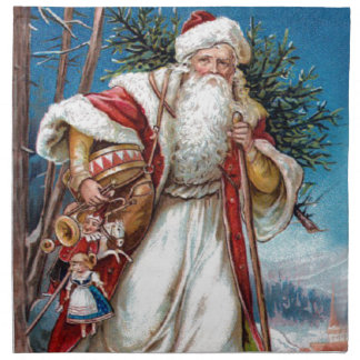 Victorian Santa Claus in Red Velvet and White Fur Cloth Napkin