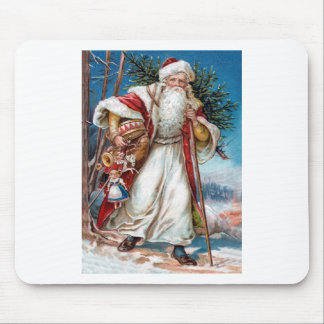 Victorian Santa Claus in Red Velvet and White Fur Mouse Pad