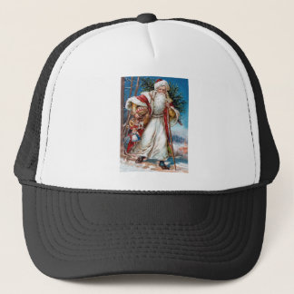 Victorian Santa Claus in Red Velvet and White Fur Trucker Hat