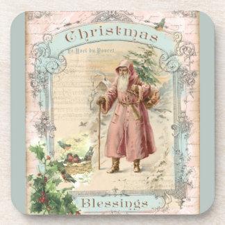 Victorian Santa Claus Pink Tree Birds Christmas Drink Coaster