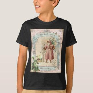 Victorian Santa Claus Pink Tree Birds Christmas T-Shirt