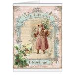 Victorian Santa Claus Pink Tree Birds Christmas Cards