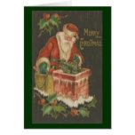 Victorian Santa en la chimenea Tarjetón