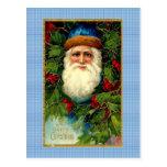 Victorian Santa en la tela escocesa Tarjeta Postal