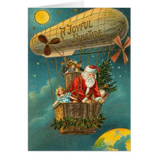 Victorian Santa en un globo Tarjeton