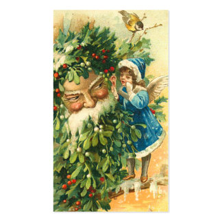 Victorian Santa & Fae Mini Greetings or Gift Tags Double-Sided Standard Business Cards (Pack Of 100)