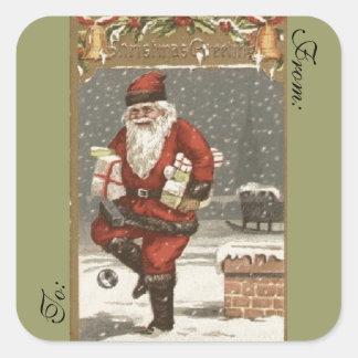 Victorian Santa Gift Tag Square Stickers