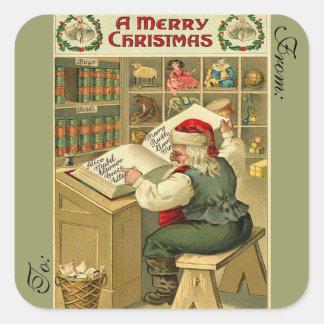 Victorian Santa Gift Tag Sticker
