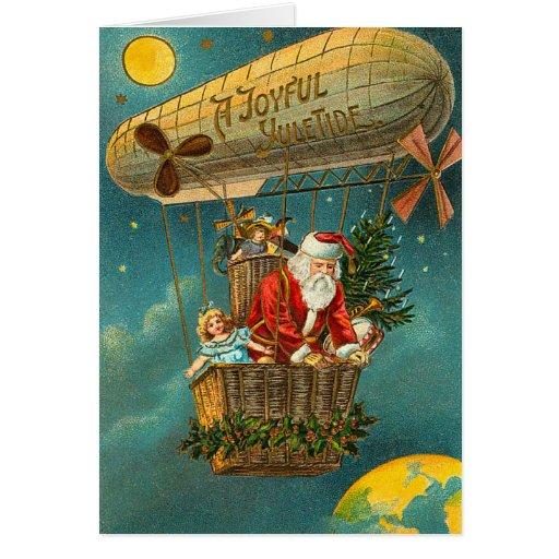 Victorian Santa in a Balloon Greeting Card