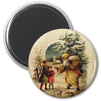 Victorian Santa 2 Inch Round Magnet