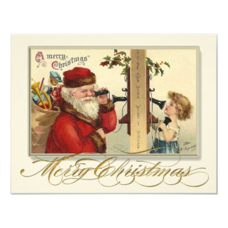 Victorian Santa on Phone Christmas Party Invite