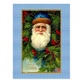 Victorian Santa on Plaid Postcard
