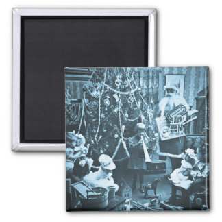 Victorian Santa Vintage Stereoview Cyan 2 Inch Square Magnet