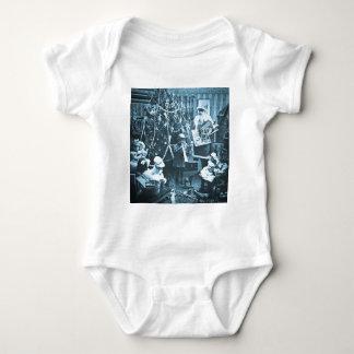 Victorian Santa Vintage Stereoview Cyan Baby Bodysuit
