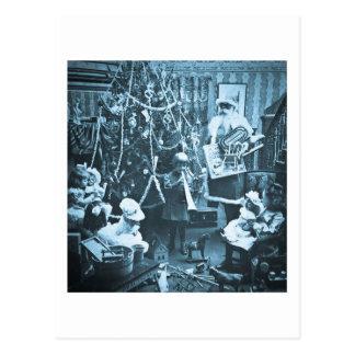 Victorian Santa Vintage Stereoview Cyan Postcard