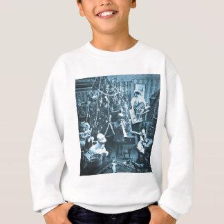 Victorian Santa Vintage Stereoview Cyan Sweatshirt