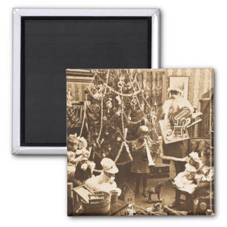 Victorian Santa Vintage Stereoview Sepia 2 Inch Square Magnet