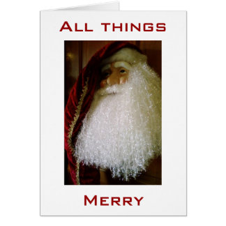 """VICTORIAN SANTA WISHES ALL THINGS """"MERRY"""" CARD"""