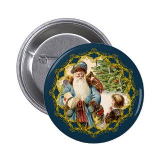 Victorian Santa y botón del navidad del muchacho Pins