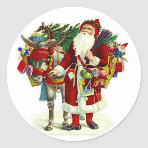 Victorian Santa y burro Etiqueta Redonda