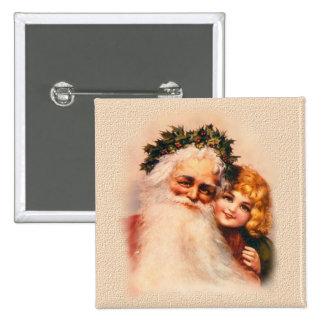 Victorian Santa y chica Pin Cuadrado