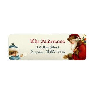 Victorian Santa y niño con la letra del navidad Etiqueta De Remitente