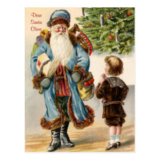 Victorian Santa y postal del navidad del muchacho