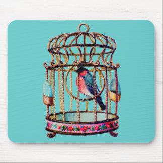 Victorian Scrap Die cut Bird Cage Mouse Pad