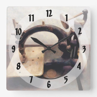 Victorian Sewing Machine Square Wall Clock