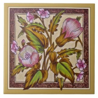 Victorian Sherwin Floral Transferware Repro Tile