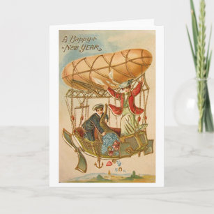 victorian shower of new year good luck wishes holiday card