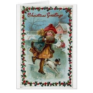 Victorian Skater Christmas Greeting Card