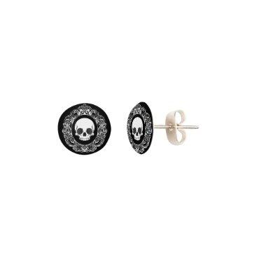 Halloween Themed Victorian Skull Cameo Earrings