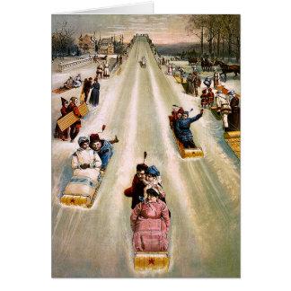 Victorian Sledding Hill Vintage Christmas Card