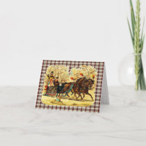 Victorian Sleigh Ride Christmas Holiday Card