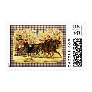 Victorian Sleigh Ride Christmas Postage