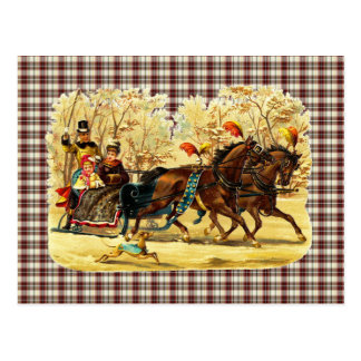 Victorian Sleigh Ride Christmas Postcard