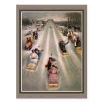 Victorian sleigh sled advertising postcard