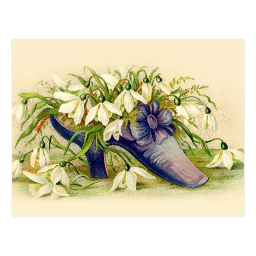 Victorian slipper filled with white flowers post card