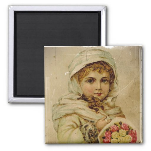 Victorian Snow Girl with Roses 2 Inch Square Magnet