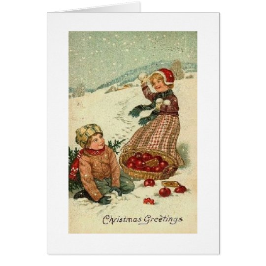 Victorian Snowball Fight Christmas Greeting Card