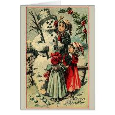 Victorian Snowman Christmas Greeting Card at Zazzle