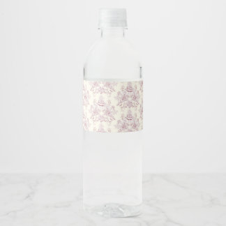 Victorian,soft yellow, soft pink,floral,pattern,vi water bottle label