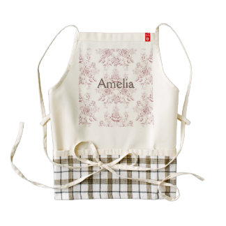 Victorian,soft yellow, soft pink,floral,pattern,vi zazzle HEART apron