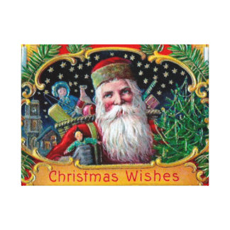 Victorian St. Nick with Gold Stars and Toys Canvas Print