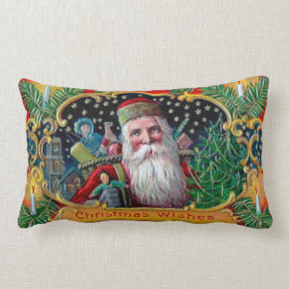 Victorian St. Nick with Gold Stars and Toys Lumbar Pillow