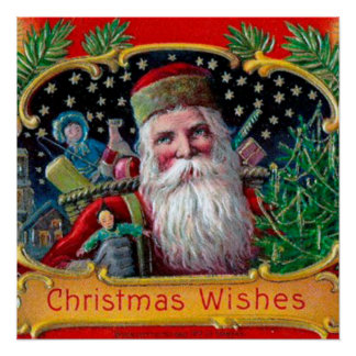 Victorian St. Nick with Gold Stars and Toys Poster