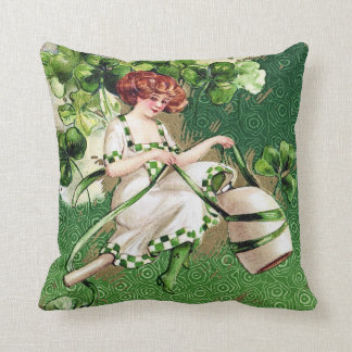 Victorian St Patrick's Day Throw Pillow