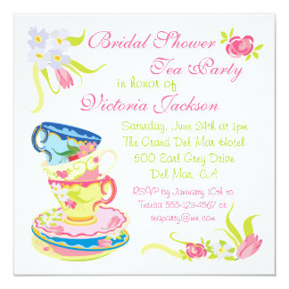 Victorian Stacked Tea Cups Tea Party Bridal Shower Card