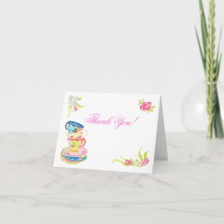 Victorian Stacked Tea Cups Tea Thank you notes zazzle_card